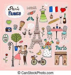 señales, francia, parís, iconos