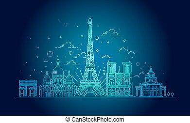 señales, ilustración, paris., arquitectónico, vector