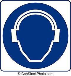 Señales obligatorias, protección de oídos debe usarse en esta zona