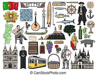 señales, viaje, portugal, portugués, iconos, vector