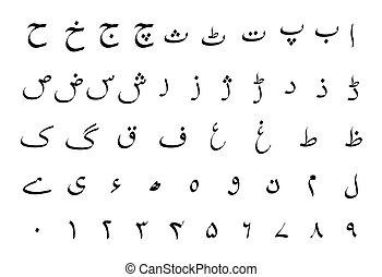 Señas de alfabeto urdu en blanco