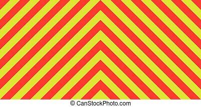 Señas de emergencia de emergencia amarillas y rojas diagonalmente, franjas de emergencia de ambulancias, una advertencia para el tráfico