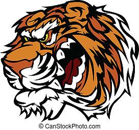 se enredar, tigre, caricatura, mascota