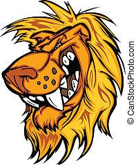 se enredar, vector, caricatura, león, mascota