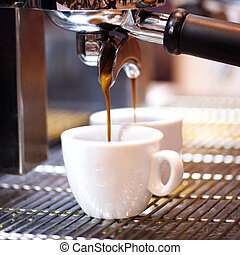 se prepara, café, el suyo, espresso, sho