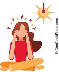 se sienta, dolor de cabeza, joven, posición, heat., énfasis, alto, severo, head., fiebre, asideros, niña, ella, loto