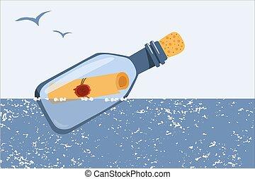 sea., flotadores, botella, vector, niños, mensaje, illustration., products., diseño