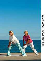 seafront., 3º edad, estirar el ejercicio, mujeres