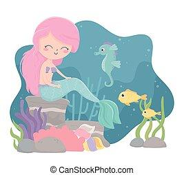 seahorse, algas, sirena, debajo, peces, mar coral