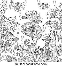 seahorse, coral
