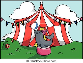 Seal circo festival de atracción