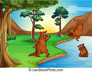 Sealiones jugando en el río