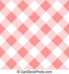 seamless, a cuadros, tartán, rosa, patrón, vector