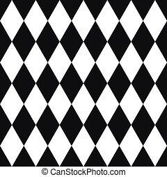 seamless, arlequín, negro, blanco, patrón
