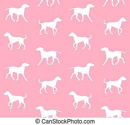 seamless, blanco, vector, perro, patrón, silueta