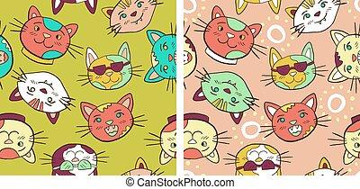 seamless, conjunto, colorido, gatos, patrón, sonriente