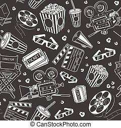 seamless, elementos, patrón, cine