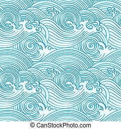 seamless, japonés, ondas