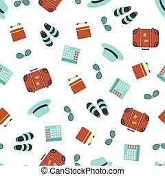 seamless, objetos, ilustración, turista, vector, patrón