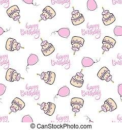 seamless, patrón, cumpleaños, confetti., niña, regalos, globos, feliz