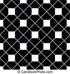 seamless, patrón, negro, azulejo, plano de fondo, vector, blanco, o