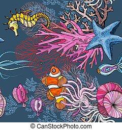 seamless, payaso, océano, marina, anémonas, patrón, vida, pez
