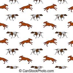 seamless, perro, vector, patrón, caza
