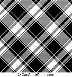 seamless, tartán, patrón, negro, blanco