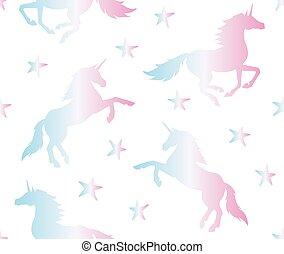 seamless, unicornio, vector, holographic, patrón