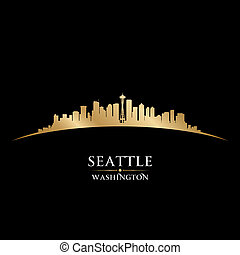 seattle, fondo negro, contorno, ciudad, silueta de washington