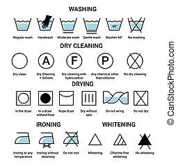secado, iconos, limpieza, planchado, aislado, o, seco, tiza, lavado