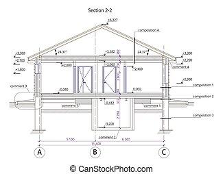 Sección arquitectónica de un edificio residencial de un solo piso