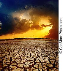 seco, encima, dramático, ocaso, tierra, agrietado