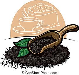 seco, hojas de té, negro