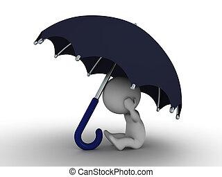 secu, paliza, -, debajo, hombre, paraguas, 3d