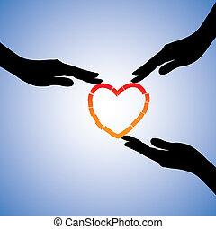 secundario, concepto, heart., corazón, ilustración, porción, roto, gráfico, trauma, manos curativas, emocional, recobrar, dolor, exposiciones