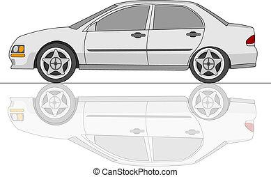 sedán, coche, blanco, reflexión