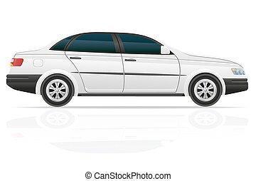 sedán, coche, vector, ilustración