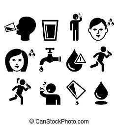 sed, gente, boca, sediento, seco, bebida, hombre, agua, iconos, conjunto
