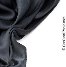 Seda negra natural sobre blanco