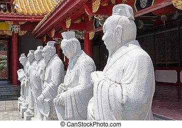 seguidores, confuciano, estatuas, 72