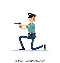 seguridad, blanco, mujer policía, posición, aislado, público, oficial, activo, uniforme, vector, concepto, character., hembra, ilustración, fondo., caracteres, poses., policía