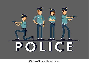 seguridad, blanco, oficial, character., caracteres, uniforme, macho, diferente, conjunto, posición, aislado, vector, concepto, hembra, ilustración, fondo., público, poses., policía