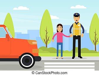 seguridad camino, policía, tráfico, imponer, patrulla, vector, supervisar, hombre, ocupado, carretera, caminos, ilustración