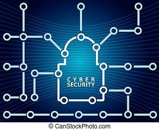 seguridad, concepto, cyber