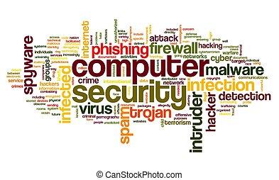 seguridad, concepto, etiqueta, nube, computadora