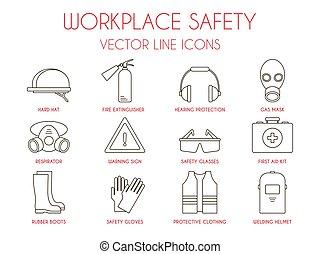 Seguridad en el lugar de trabajo y equipo de protección personal iconos de delgada línea