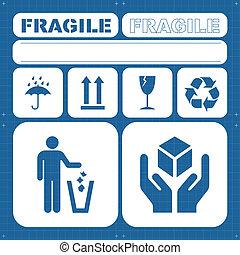 seguridad, frágil, vector, conjunto, icono