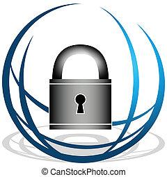 seguridad, global, icono