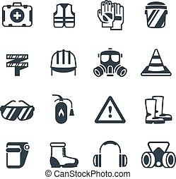 Seguridad industrial, trabajo de seguridad ocupacional y atención médica. Ropa protectora y equipmen vector iconos aislados